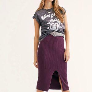 Free People Skyline Midi Sweater Skirt Magenta XS